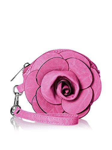 Raised Fuchsia Rose Flower Wristlet Wallet