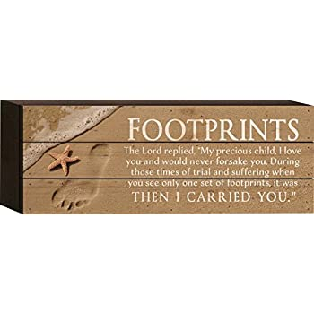 Footprints in the Sand Sentiment 5 x 12 Wood Plank Design Wall Box Sign