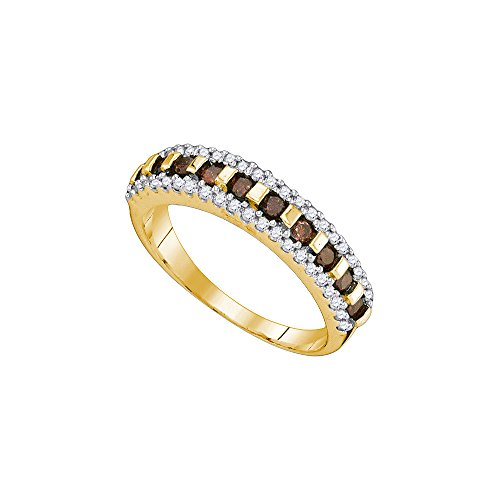 10kt Yellow Gold Womens Round Cognac-brown Colored Diamond Triple Row Band 1/2 Cttw by JawaFashion