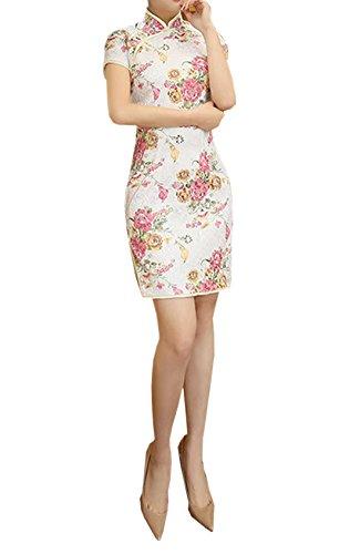 オフ落花生雇ったXueXian(TM)ショート丈 チャイナドレス 半袖 花柄 チャイナ服 パーティードレス 中華服 ステージ衣装 披露宴 演奏会