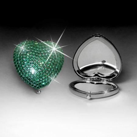 Jewel Encrusted Heart Shaped Mirror (Green)