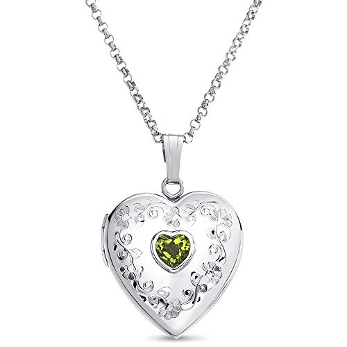 Genuine Peridot Heart Pendant - Finejewelers Sterling Silver Heart Locket Pendant Necklace with Genuine Peridot August Birthstone