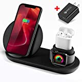 WATOE,Wireless Charger, 3 in 1 Wireless Charging Stand for Apple Watch and Airpods,Qi Fast Wireless Charging Station Compatible iPhone X/XS/XR/Xs Max/8/8 Plus, for Apple Watch Series 4/3/2/1,Black