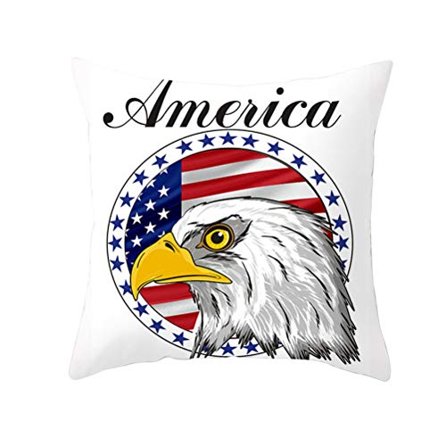 Indenpedence Day Pillow Cover Bald Eagle American Flag Pattern, Decorative Throw Pillow Cases Size Printed Pillowcase