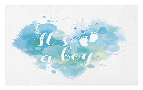 - Ambesonne Gender Reveal Doormat, It's A Boy Quote on Grunge Pastel Background with Brushstroke Effect, Decorative Polyester Floor Mat with Non-Skid Backing, 30 W X 18 L Inches, Turquoise and Blue