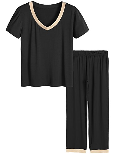 Latuza Women's V-Neck Sleepwear Short Sleeves Top with Pants Pajama Set 3X Black