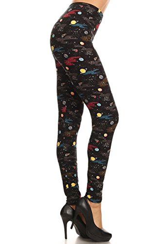 S564-EXTRAPLUS Cosmic Queen Print Fashion Leggings