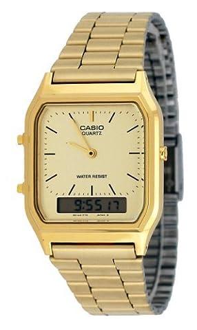 Casio AQ230GA-9D Men's Analog Digital Dual Time Gold Tone Metal Band Watch (Gold Tone Metal Watch)