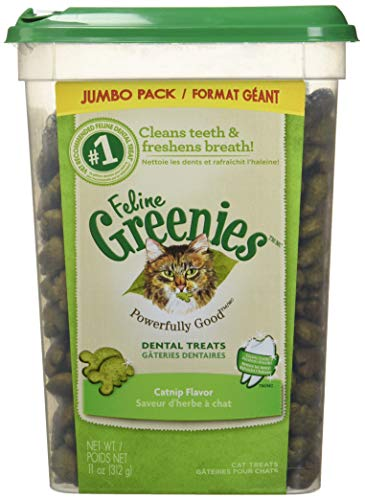 FELINE GREENIES Dental Natural Cat Treats Catnip Flavor, 11 oz. - Tub Chews Treat Dental