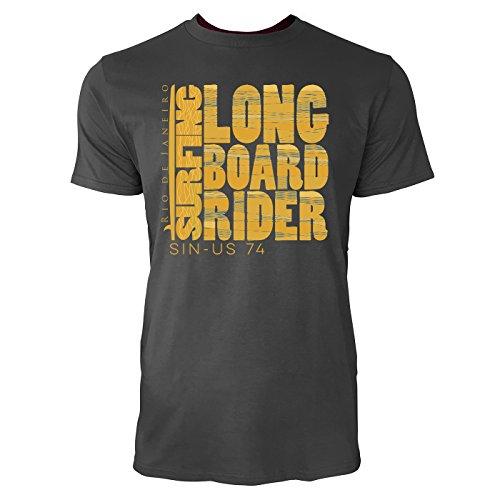 Sinus Art ® Herren T Shirt Long Surf Board Rider ( Smoke ) Crewneck Tee with Frontartwork