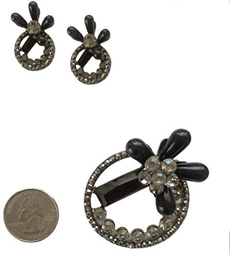 Onyx Ear Pin - Antique Vintage Retro Style Jet Black Onyx Marcasite Rhinestone Earrings and Scarf Pin Brooch Set