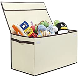 G.U.S. Kids Collapsible Toy Chest with Flip-Top Lid, Large, Ivory