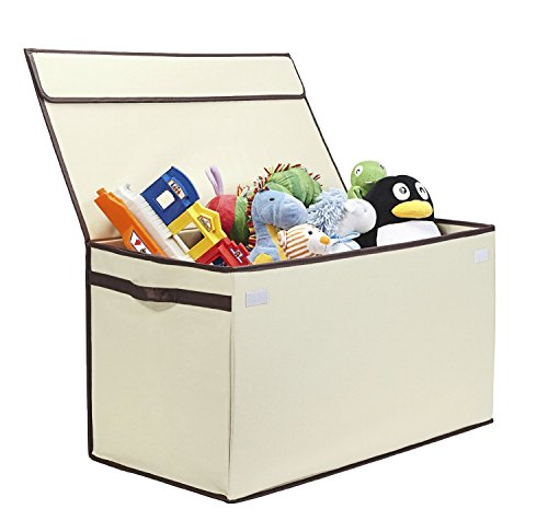 (Great Useful Stuff | Bigger, Sturdier Toy Chest | Collapsible with Flip-Top Lid, Large, Ivory 600 Denier | Extra Tough)