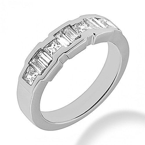 1.00 ct. Princess and Baguette Cut Diamond Wedding Band in Channel Mounting in 18 kt White Gold In Size 9
