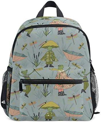 リュック 傘をさすカエル 子供 キッズ バッグ 軽量 大容量 通学 遠足 散歩 男の子 女の子 入学 お祝いプレゼント