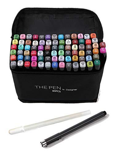 THE PEN for Designer マーカーペン セット 修正ペン付き アルコールマーカー イラスト 建築 (80色+2本)