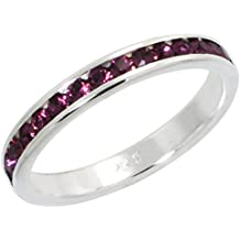 """Sterling Silver Stackable Eternity Band, February Birthstone, Amethyst Crystals, 1/8"""" (3 mm) wide"""