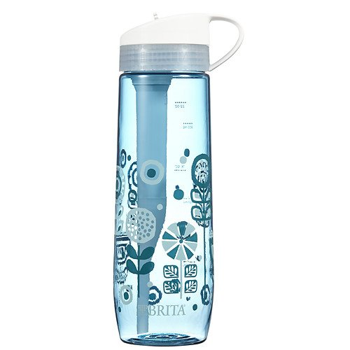 1 PACK Brita Hard Sided Water Filter Bottle, Printed Blue,