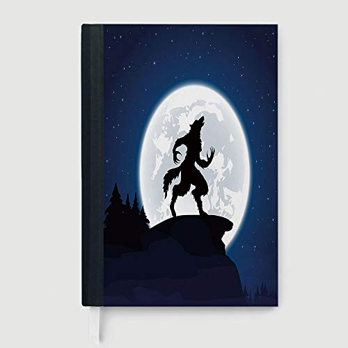 Hardcover,Wolf,Case Bound Notebook,Full Moon Night Sky Growling Werewolf Mythical Creature in Woods Halloween,96 Ruled Sheets,B5/7.99x10.02 in