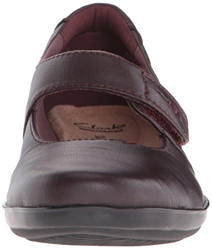 CLARKS Mary Leather Everlay Women's Aubergine Jane Kennon Flat wrrAqtO