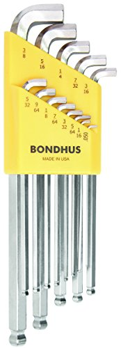 Bondhus 16737 13 Piece Stubby Ball End Tip Hex Key L-Wrench Set with BriteGuard Finish, Long - Hex Long L-key Key Arm