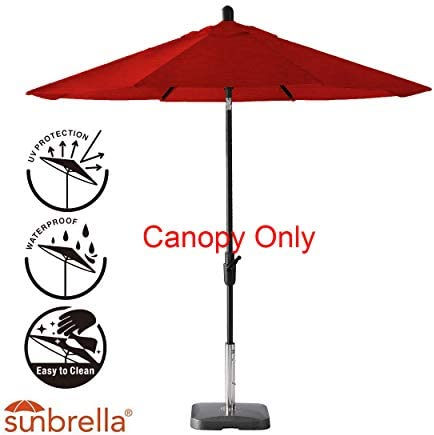 Amauri Outdoor Living The Market Collection Universal Fit Modern 9ft Sunbrella Fabric Replacement Umbrella Canopy, Jockey Red