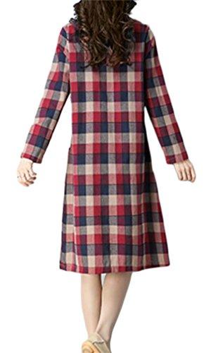 Domple Des Femmes De Carreaux Col Rond Décontracté Ample Robe Maxi Avec Poches Vin Rouge