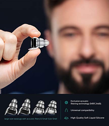 High Fidelity Concert Earplugs,Reusable Musicians Ear Plugs,24dB Advanced Filter Technology Ear Protection for Music Festivals, DJs, Musicians by Mumba (Image #3)