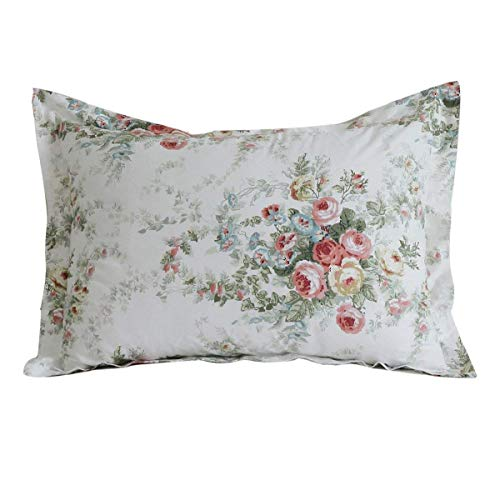 (FADFAY Farmhouse Shabby Vintage Rose Floral Pillow Shams 100% Cotton Duvet Cover Set Super Soft Hypoallergenic with Hidden Zipper Closure,2-Pieces Standard Size 20