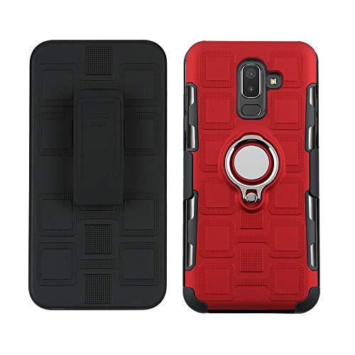 Maoerdo Galaxy J4 Plus Case,[Back Clip] 2 in 1 360 Degree Ring Stand Dual Layer TPU Bumper Shockproof Support Magnetic Car Mount Holder Thin Case for Samsung Galaxy J4 Prime/J4 Core/J4+ - Gules (Hello Kitty Galaxy Core 2)