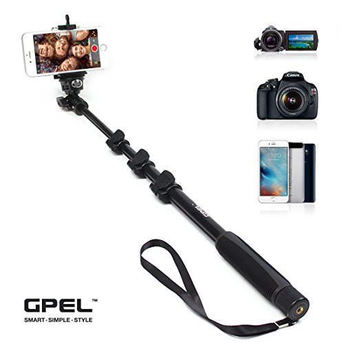 GPEL Aluminum Selfie Stick Monopod for Pros for Galaxy S6, Galaxy S7, Note 5, Note 4, Note 3, iPhone 6s, 6, 6 Plus, 5, 5s, 5c and more - ()