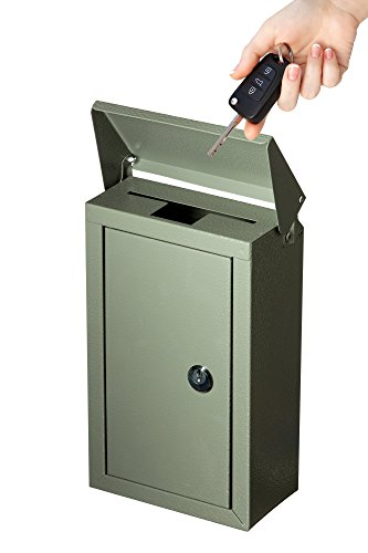 Outdoor Large Key Drop Box Galvanized Steel Wall-Mount Powder-Coated Key Fob Lock Box by Work Affinity (Gray) by Work Affinity