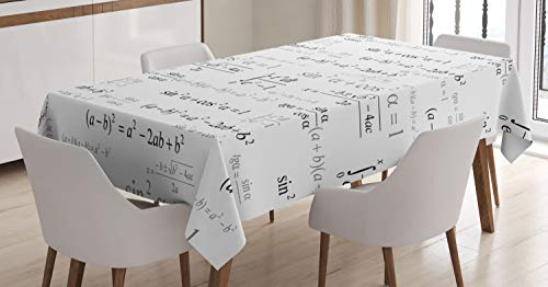 (Ambesonne Kids Decor Tablecloth by, School for Math and Geometry with Science Formules Chalk Board Style Image, Dining Room Kitchen Rectangular Table Cover, 52W X 70L Inches, Black and White)