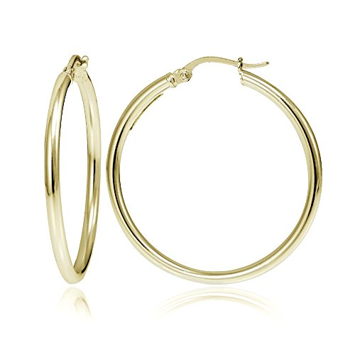 - Hoops & Loops Flash Plated Gold Sterling Silver 2mm Polished Round Hoop Earrings, 35mm