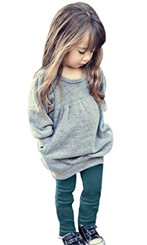 Toddler Girls Clothes Winter Warm Long Sleeve Tops+Long Pants Set (Gray, 3T (2-3 Years))