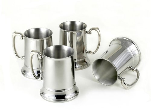 Set of 4 Stainless Steel Beer Mugs by StainlessLUX