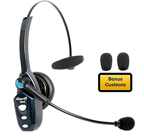 Bluetooth Headset 204123 Bundle - Includes B250-XT Trucker Bluetooth Headset w/ Bonus Mic Foam Cushions | Auriculares Bluetooth Inalambricos de Blue Parrot ()