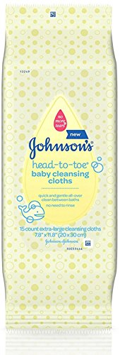 Johnsons Head-To-Toe Baby Cleansing Cloths 15 ea (4 Pack)