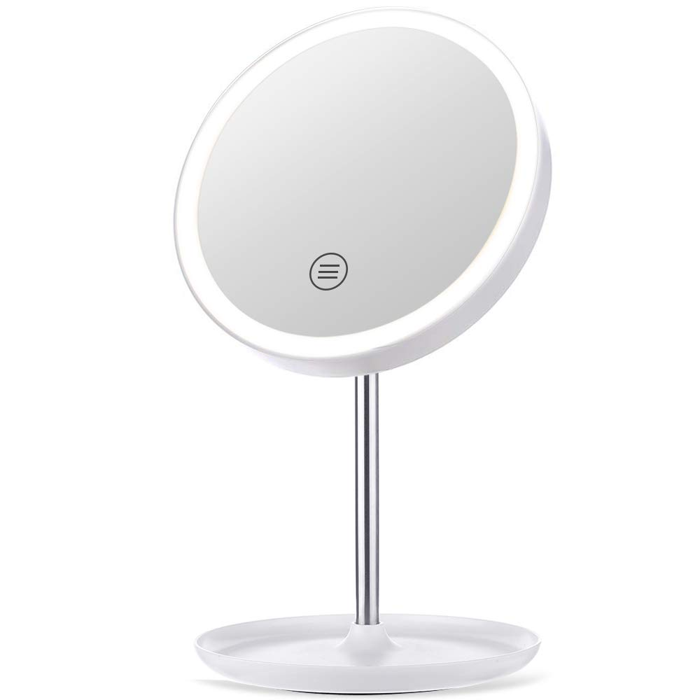 GLIME Makeup Mirror Rechargeable Cordless Vanity Makeup Mirror with 3 Color Modes Touch Controls 1X 5X Magnifying and 45 High-brightness LEDs Dimmable Natural Light Countertop Cosmetic Mirror