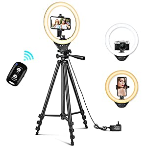 Best Epic Trends 41bNJRG-qeL._SS300_ 10'' Ring Light with 50'' Extendable Tripod Stand, Sensyne LED Circle Lights with Phone Holder for Live Stream/Makeup…