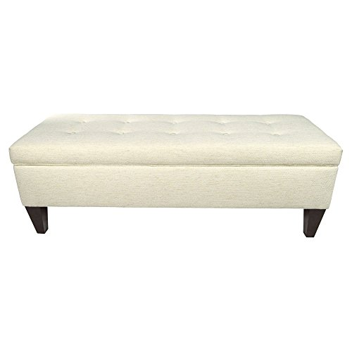 Cheap MJL Furniture Designs Brooke Collection Belfast Series Contemporary Rectangle Storage Ottoman, With Button Tufting, Ivory