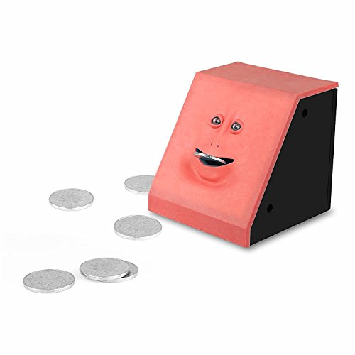 Coin Bank Eco-Home Money Eating Money Wrappers Battery Powered Face Monkey Saving Box - Blue (Red) Photo #2
