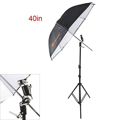 TARION 40inch 2in1 Reflective Umbrella and Light Stand with Swivel Bracket & Shoe Mount Adapter Kit by TARION