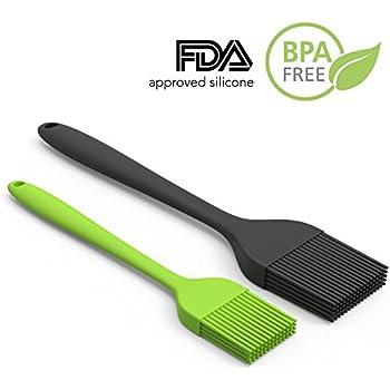Silicone Pastry Brush Set — 2 Pack — Heat Resistant Basting Brush Set Elegantly Designed + Dishwasher Safe — Large Black + Small Green Sizes Perfect For Baking, Grilling, Basting & Marinating