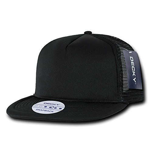 - DECKY Solid Color Flat Bill Foam Trucker Hat, Black