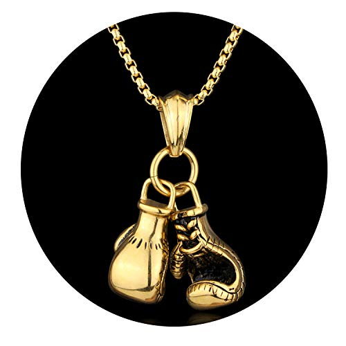 - Elibone Mini Boxing Glove Necklace Gold Color Chain Pair Boxing Glove Pendant Necklaces for Men Boys Charm Fashion Sport Fitness Jewelry