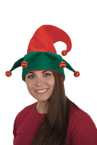 [Jacobson Hat Company Women's Light-Up Felt Elf Hat, Red/Green, One Size] (Elf Hats For Adults)