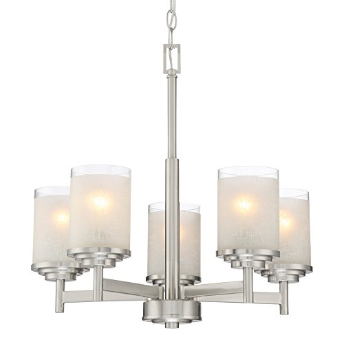 "Kira Home Windsor 18.5"" Modern 5-Light Chandelier + Frosted White Linen Glass Shades, Brushed Nickel Finish"