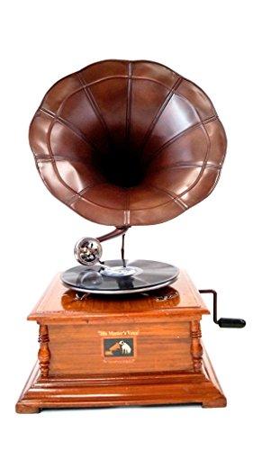 EcWorld Enterprises 7731363 Antique Replica Dark Wood Phonograph Gramophone With Large Engraved Brass Horn