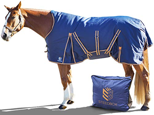 SteedBox 81 inch Horse Winter Turnout Blanket 1200D Ripstop   210T Nylon Lining and 250g Fill with Carry Bag